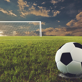 image of soccer goal post and soccer ball